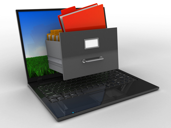 3d illustration of laptop computer over white background with meadow screen and archive