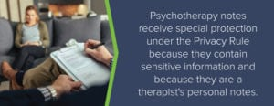 Psychotherapy notes have special protection under the Privacy Rule because they contain sensitive information