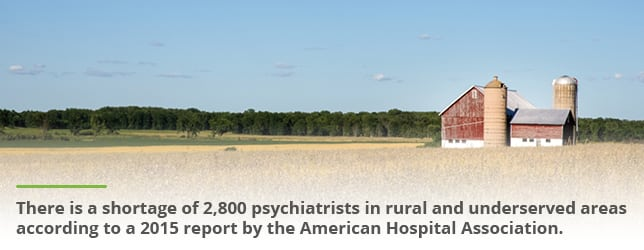 A shortage of psychiatrists in rural areas means there isn't adequate mental health treatment available in these areas.