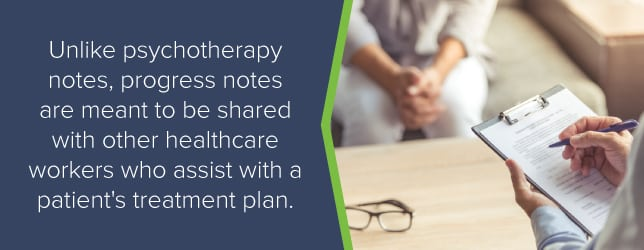 Progress notes are meant to be shared with other healthcare workers assisting in a patient's treatment plan