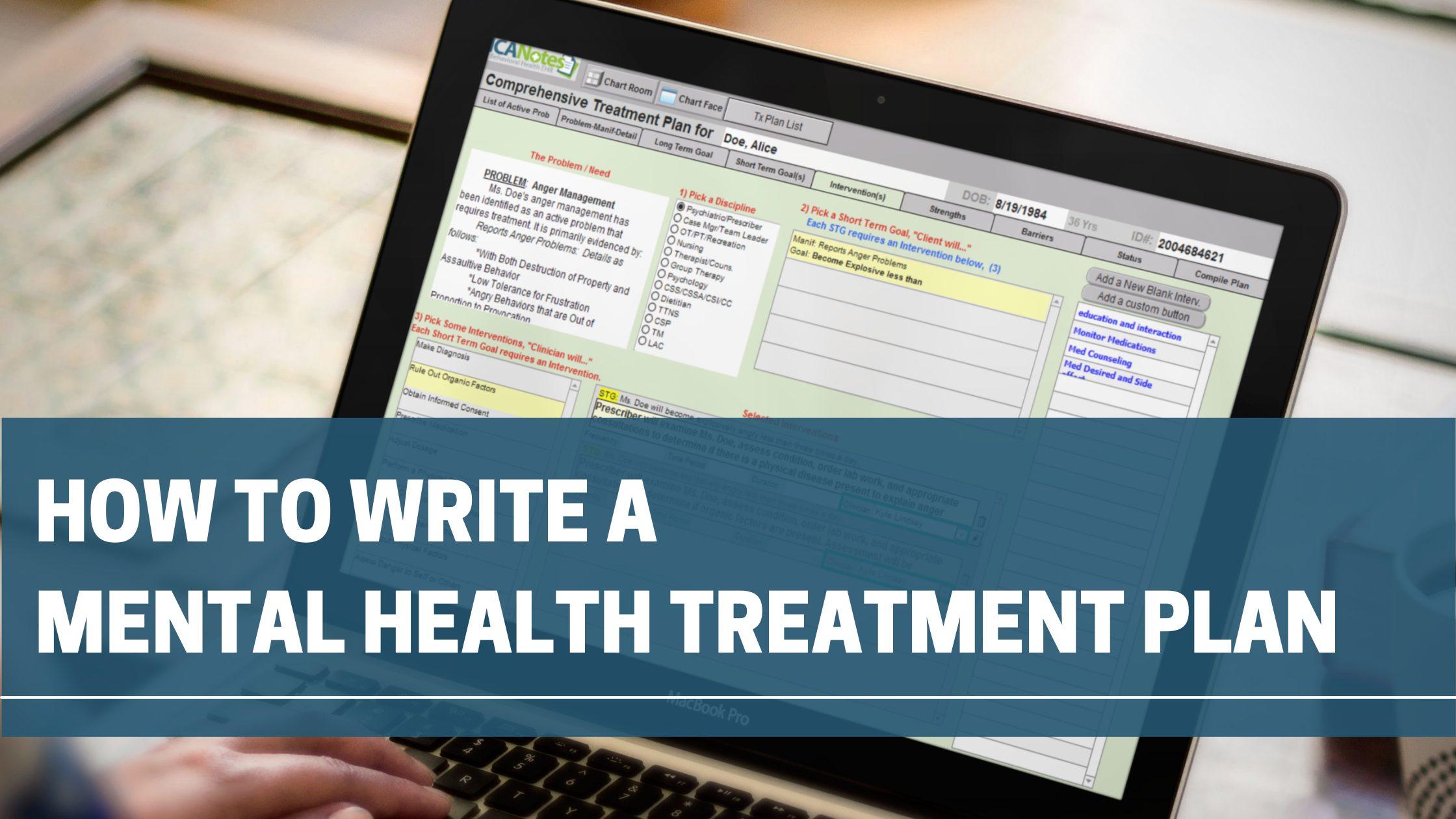 How to Write A Mental Health Treatment Plan