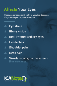 Digital screens can cause eye strain, blurry vision, dry or irritated eyes, headaches, neck pain, shoulder pain, and more