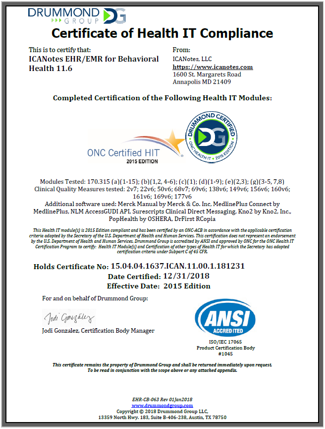 2015 ONC Certification