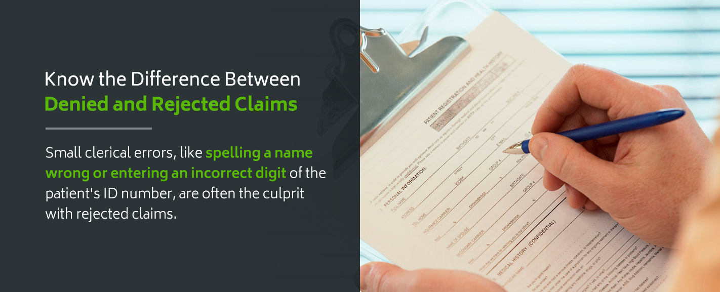 Learn more about the differences between denied and rejected insurance claims