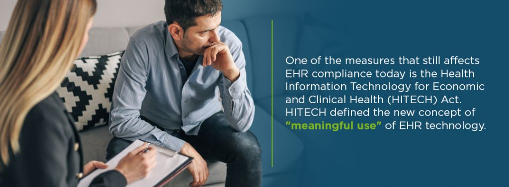 """The HITECH Acht defined the new concept of """"meaningful use"""" of EHR technology"""