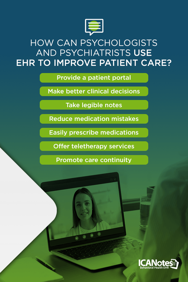 How can psychologists and psychiatrists use EHR software to improve patient care?