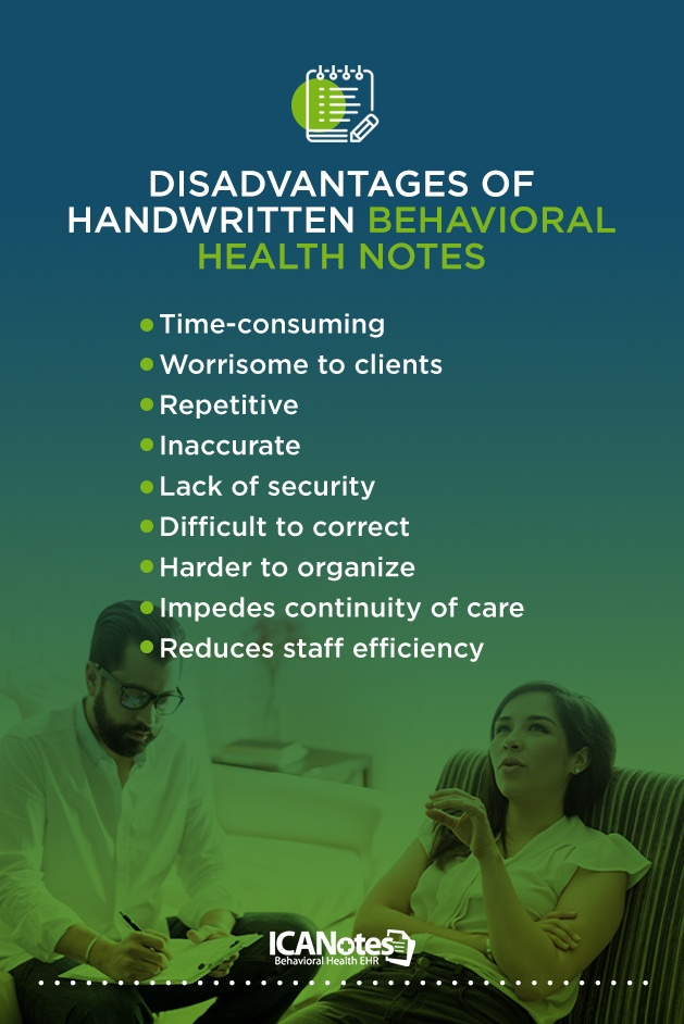 Disadvantages of handwritten behavioral health notes