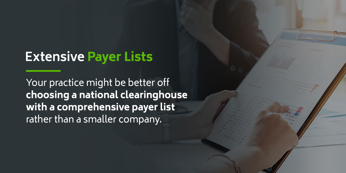 Extensive payer lists