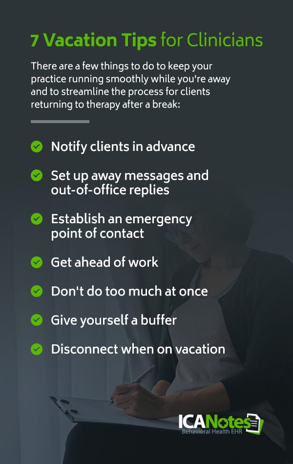 Vacation tips for clinicians